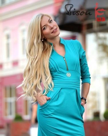 Платье бирюзовое7336