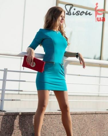 Платье бирюзовое 7422