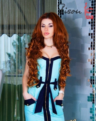 Платье ментол 7258