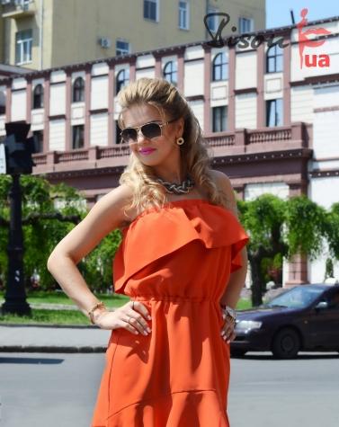 Платье оранжевое 7589