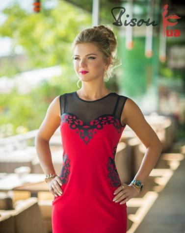 Платье красное 7603