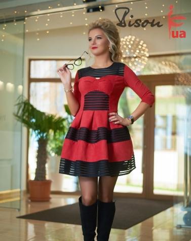 Платье красное 7627
