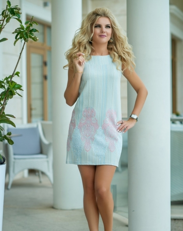 Платье голубое 7666