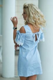Платье в голубую полосочку 7762