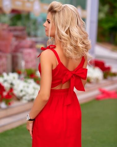 Платье с бантом красное 7776