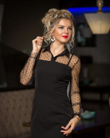 Чёрное платье-футляр 7796