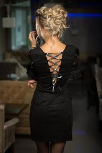 Замшевое платье со шнуровкой 7799