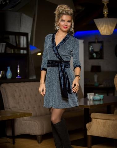 Платье с люрексом на запах 7795