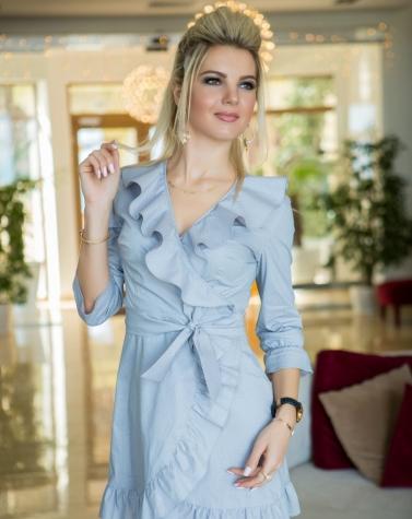 Платье с рюшами 7813