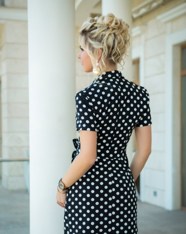 Платье с запахом в горошек 7815