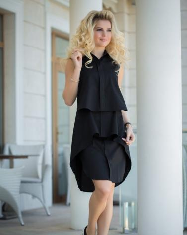 Платье-рубашка чёрное 7825
