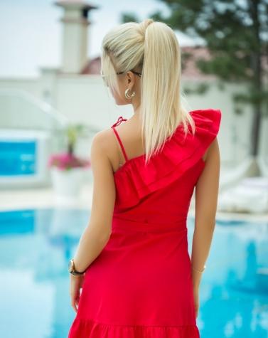 Платье с воланом красное 7834