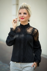 Кружевная чёрная блузка 1341