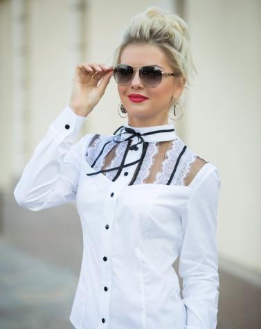 Контрастная блузка из хлопка 1346