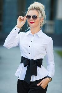 Блузка белая с бантом 1345