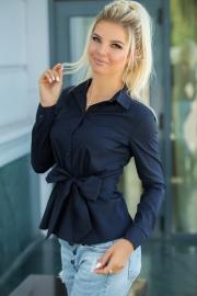 Блузка с бантом синяя 1304