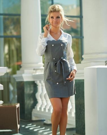 Платье на запах с белой блузой 7845