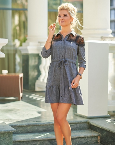 Твидовое платье с кружевом 7847
