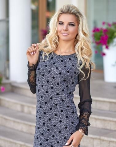 Тёплое платье в горошек 7848