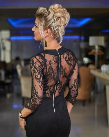 Замшевое платье с кружевом 7460