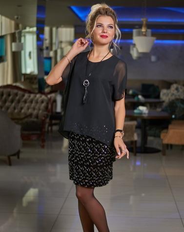 Нарядное платье с шифон  (большой размер) 7564