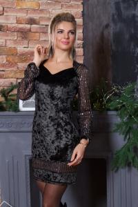 Велюровое платье с серебряной паеткой 7871