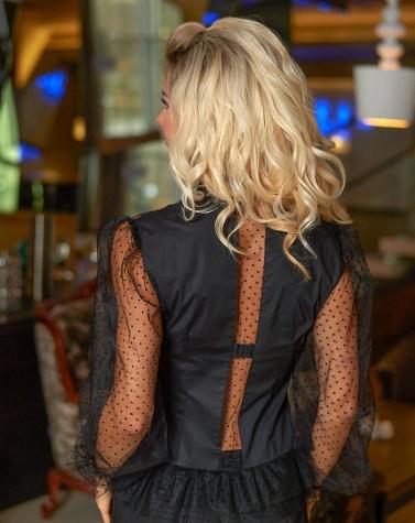 Эффектная чёрная блузка 1328
