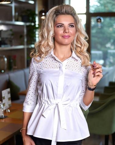Белая блузка с прошвой 1349