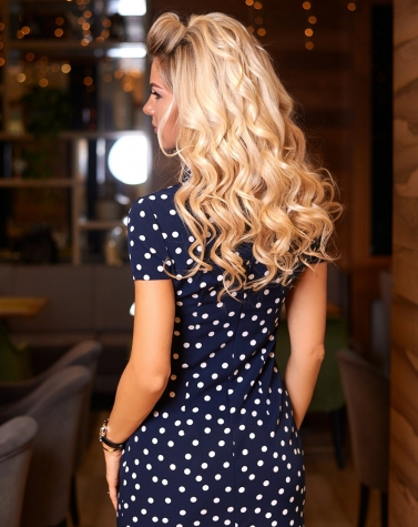 Синее платье в горошек 7881