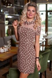 Бежевое платье в горошек 7881