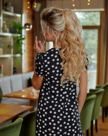 Комбинированное кожаное платье 7884