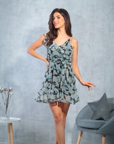 Шифоновое платье с воланом 7819