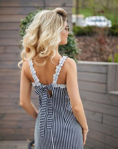 Льняное платье с кружевом 7679