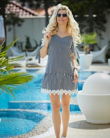 Платье в синюю полоску 7764