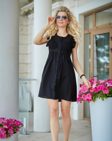 Летнее платье с прошвой чёрное 7898
