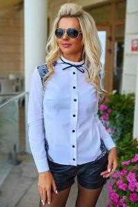 Белая блузка со стойкой 1306