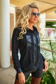 Блузка с кожаными вставками 1354