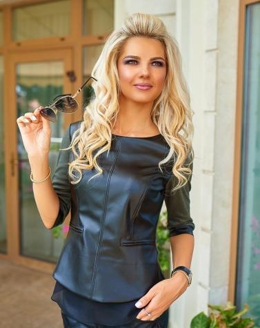 Комбинированная блузка хаки 1245