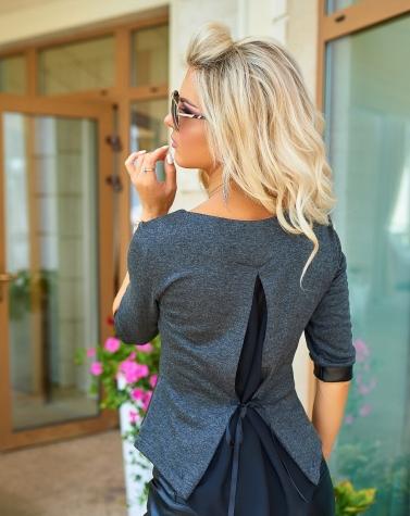 Комбинированная блузка серая 1245
