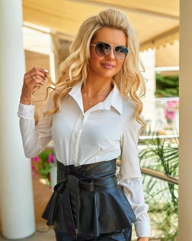 Классическая блузка с кожаным поясом 1356