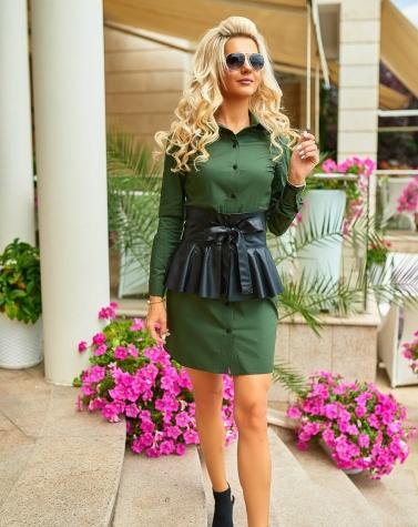 Платье-рубашка с кожаным поясом 7905