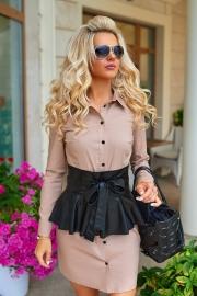 Платье-рубашка с кожаным поясом бежевое 7905