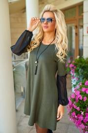 Платье с шифоновыми рукавами хаки 7723