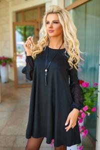 Платье с шифоновыми рукавами чёрное 7723
