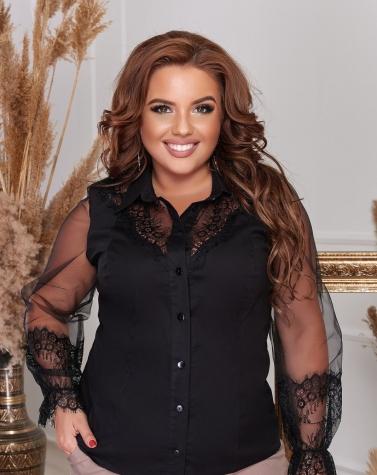 Чёрная блузка с кружевом 1338