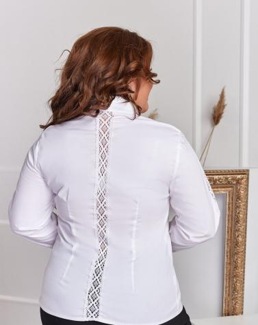 Хлопковая блузка с льняным кружевом 1242