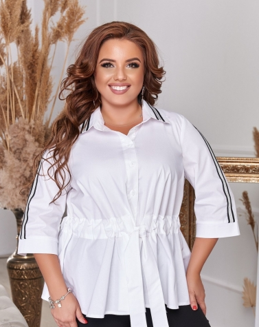 Белая блузка с контрастным лампасом 1347