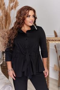 Стильная чёрная блузка с лампасом 1347
