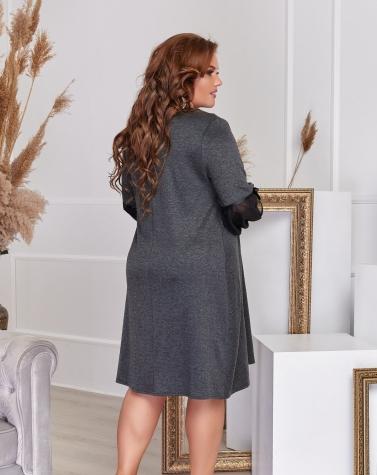 Расклешенное трикотажное платье серое 7723