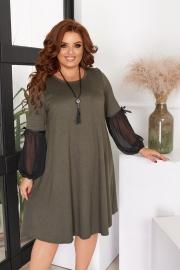 Расклешенное тёплое платье хаки 7723